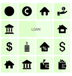 14 loan icons vector