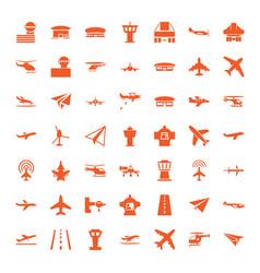 49 aircraft icons vector image