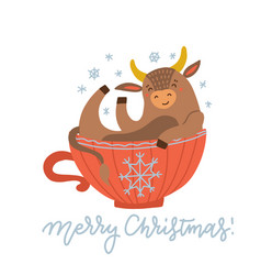 A cute cow sitting in red cup 2021 new year vector
