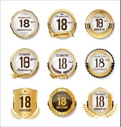 Anniversary golden retro badges collection 18 vector