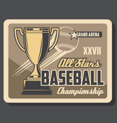 baseball sport league cup championship vector image