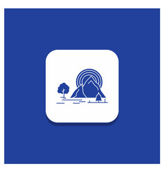 Blue round button for mountain hill landscape vector