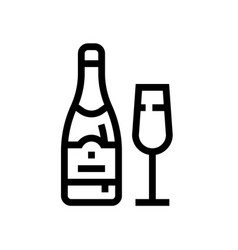 bottle champagne wine line icon winery vector image