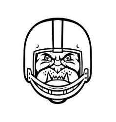 bulldog wearing american football helmet front vector image