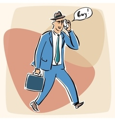 Businessman talking on the phone bye vector