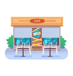 Cafe building closed with sign and yellow tape vector