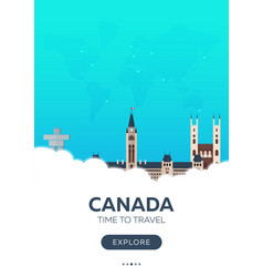 Canada time to travel travel poster flat vector