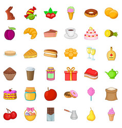 Candy dessert icons set cartoon style vector