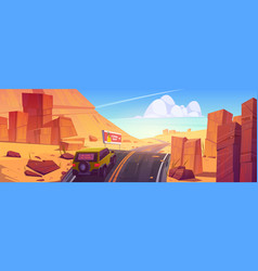 car driving road in desert or canyon landscape vector image