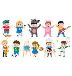 cartoon kids hobbies children creative musical vector image