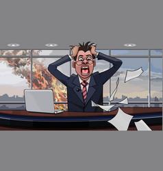 Cartoon panicking man in office vector