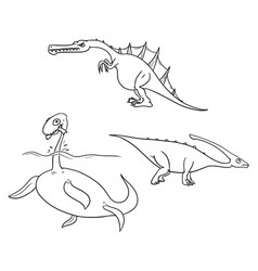 Cartoon set 02 of ancient dinosaur monsters vector