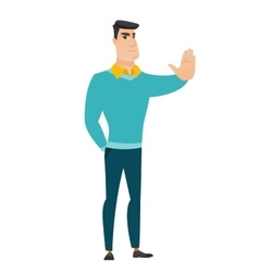Caucasian businessman showing stop hand gesture vector