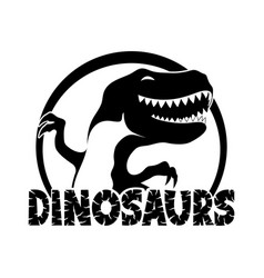 Cheerful black dinosaur vector
