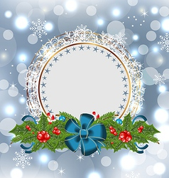 Christmas holiday decoration with greeting card vector image