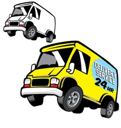commercial cartoon van vector image