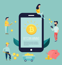 Concept design with people earning bitcoins vector