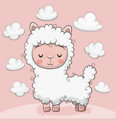 Cute alpaca with clouds on a pink background vector
