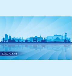 damascus city skyline silhouette background vector image