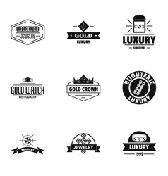 Deluxe logo set simple style vector