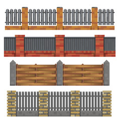 different brick wood fances vector image