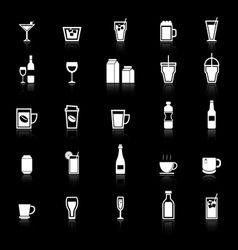 Drink icons with reflect on black background vector image vector image