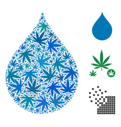 Drop collage of weed leaves vector