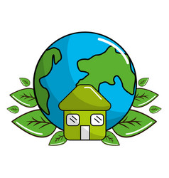 Earth planet with leaves and house icon vector