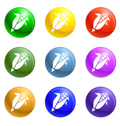 eco corn icons set vector image