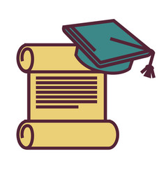 education and knowledge diploma and academic hat vector image