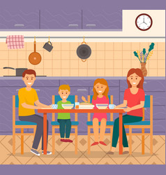 family eat dinner together at home healthy food vector image
