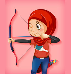 female muslim archer character vector image