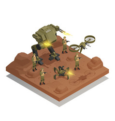 Fighting robots isometric composition vector