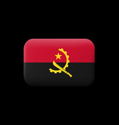 Flag angola matted icon and button vector