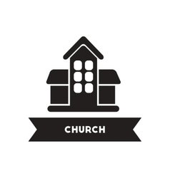 Flat icon in black and white style building church vector