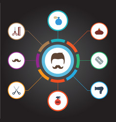 Flat icons hairdresser deodorant moustache and vector