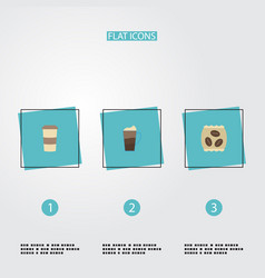 Flat icons latte package latte plastic cup and vector