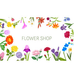 flowers shop floral frame poster with peopy lily vector image