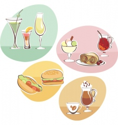 food and drinks set vector image