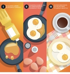 Frying scrambled eggs cooking instruction vector image