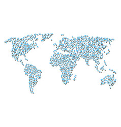 Global map collage of refresh icons vector
