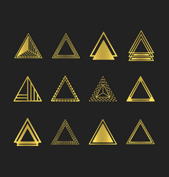 golden art deco and line triangles icons set vector image