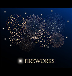Golden firework show on night sky background vector