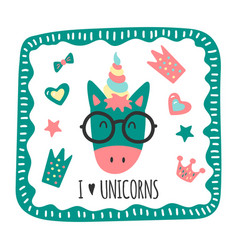 Greeting card with a funny unicorn vector
