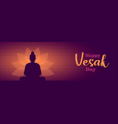 happy vesak day banner lotus flower and buddha vector image