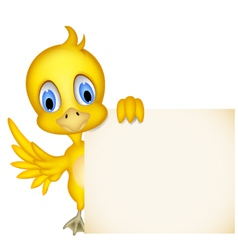 Happy yellow chick cartoon with blank sign vector