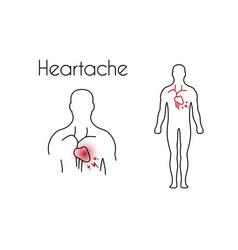 heartache linear icon young man vector image