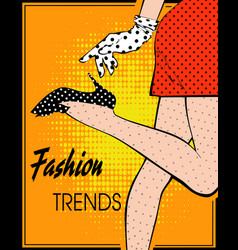 in style pop art female legs in polka-dot vector image