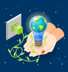 isometric earth hour composition vector image