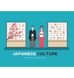 Japanese culture in flat design background concept vector